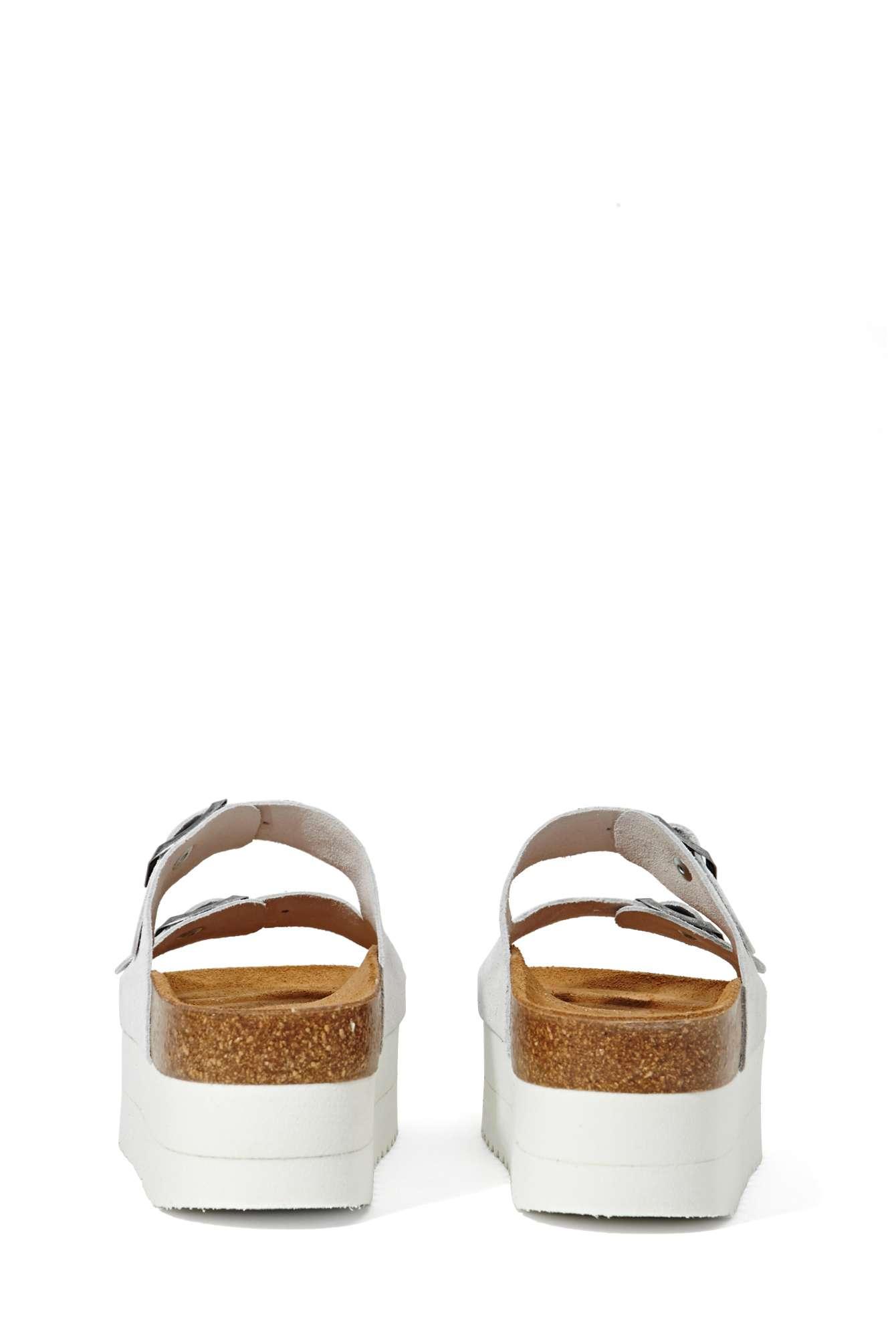 e8185e5b01bf Jeffrey Campbell Aurelia Platform Sandal - White Suede