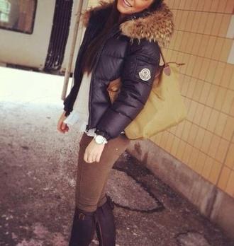 coat black black coat moncler down jacket