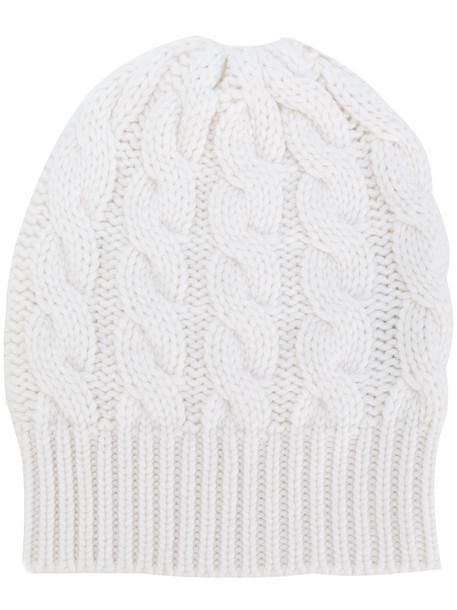 beanie white knit hat