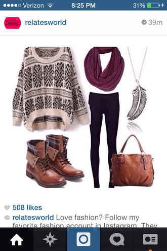sweater leggings bag infinity scarf combat boots oversized sweater necklace jewels shoes scarf