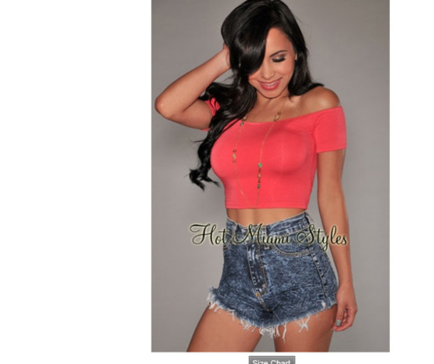 shirt red coral crop tops
