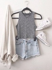 tank top,top,grunge,tumblr,dark,light,sweater,shirt,blouse,grey,shorts,crop tops,light denim,High waisted shorts,grey top,cardigan,halter top,denim shorts,oversized cardigan,cool,teenagers,style,tumblr outfit,neutral,beige,white,converse,summer,casual,outfit,camisole,vans,shoes,necklace