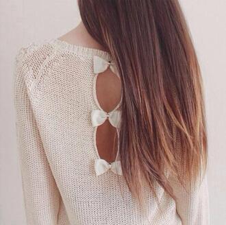 shirt sweater love it blouse cream bows