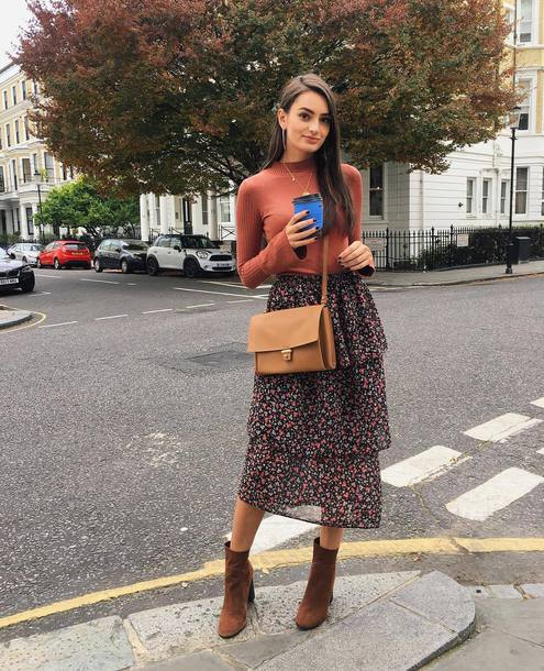 top tumblr turtleneck bag crossbody bag skirt midi skirt floral floral skirt boots suede suede boots ankle boots brown boots