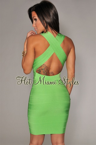 Lime CrissCross Back Bandage Dress