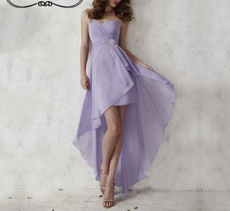 dress chiffon dress lavender dress high low dress bridesmaid high low prom dresses