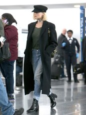 jeans,coat,top,hat,ankle boots,margot robbie,streetstyle,casual