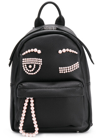 women backpack leather black bag