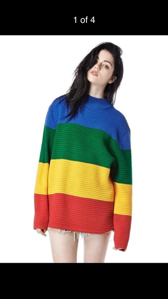 sweater rainbow fashion jumper fall outfits long sleeves pullover colorful winter outfits cozy knitwear warm clothes cool trendy blue red yellow green