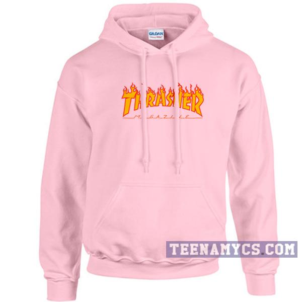 Pink thrasher flame hoodie - teenamycs