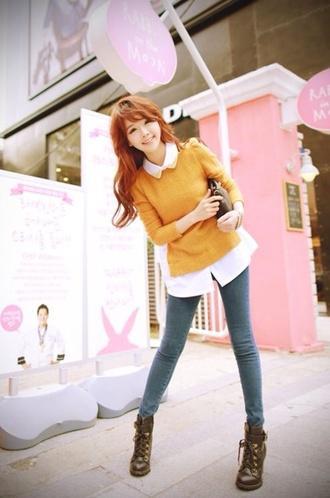 sweater hipster mustard korean fashion mustard sweater