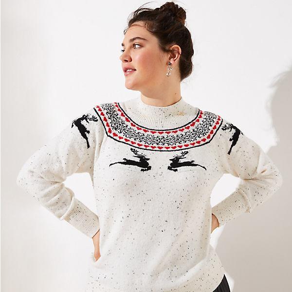 LOFT Plus Reindeer Fairisle Sweater