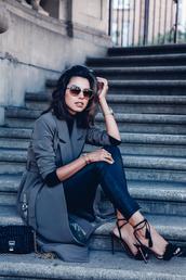 shoes,aquazzura,Aquazzura sandals,sandals,high heel sandals,black sandals,black high heel sandals,pants,leather pants,black pants,trench coat,grey trench coat,coat,bag,black bag,sunglasses,fall outfits,viva luxury,blogger