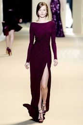 dress,plum,maxi dress,runway,haute couture,elie saab,prom dress,formal dress,leg slit,wrap dress,long sleeves,burgundy dress,long dress,slit dress,elegant