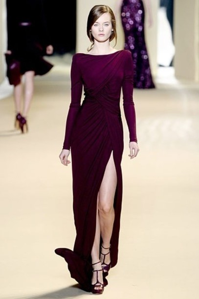 dress plum maxi dress runway haute couture elie saab prom dress formal dress leg slit wrap dress long sleeves burgundy dress long dress slit dress elegant
