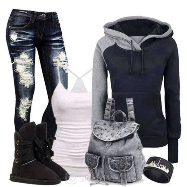 bag grey studs jeans bag cute bags sweater tank top pants shoes jacket black hoodie basic fashion where do i find this sweater?