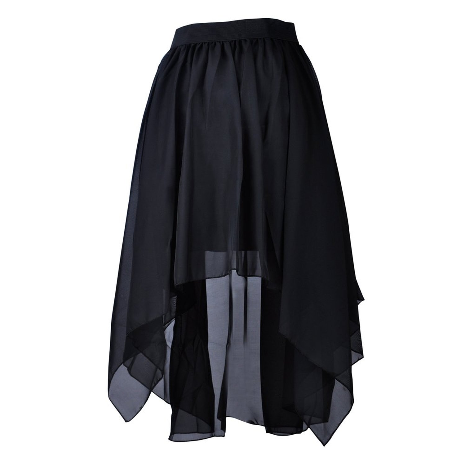 b7084921f7 TopTie Flare High Low Skirt, Chiffon Hi-Low Skirt, Tulip Skirt BLACK at  Amazon Women's Clothing ...