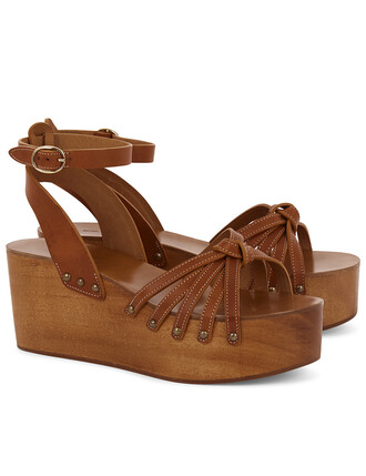 tan wedges leather brown