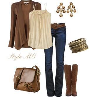 jeans belt pants shirt top cardigan bag boots earrings bracelets jewels blouse