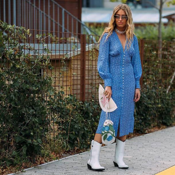 dress midi dress floral dress button up v neck dress long sleeves sunglasses boots