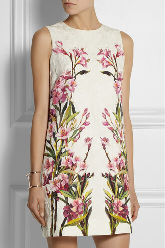 dress floral-print cotton-blend jacquard mini dress floral cotton dolce and gabbana single bar rose gold-plated cuff cuff gold jennifer fisher jewels