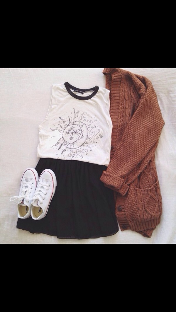 tank top black white moon sun top shirt blouse collar shorts coat shoes skirt