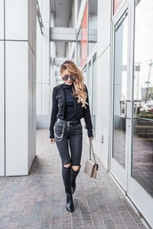 not jess fashion,blogger,sweater,belt,shoes,bag,jeans,tumblr,black jeans,skinny jeans,ripped jeans,jacket,black jacket,boots,black boots,ankle boots,top,black top,turtleneck,black turtleneck top,sunglasses