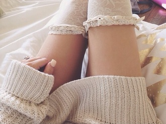socks girly frilly vintage gabi demartino gabriella demartino knee high socks white lace sweater whole outfit fashion
