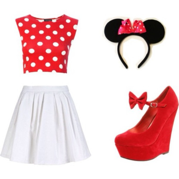 Shirt tank top hat jewels minnie mouse polka dots for White red polka dot shirt