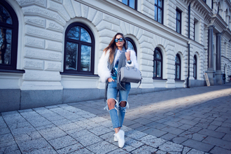 kenza blogger sweater jacket sunglasses jeans shoes jewels bag scarf