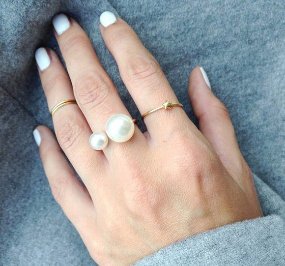 pearl jewels gold white grey