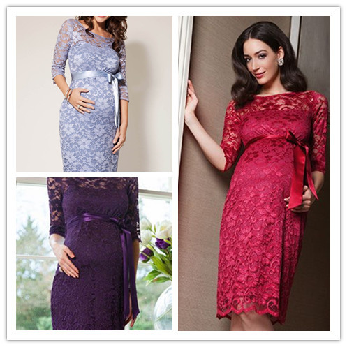 efafb169dea Aliexpress.com   Buy Maternity Evening Dresses 2014 Long Sleeve Sexy V Neck  Waist With Bow Pregnant ...