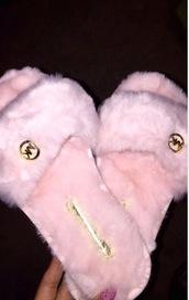 shoes,pink,fluffy flip flops,michael kors