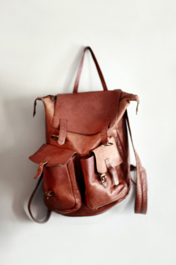 bag backpack leather leather packpack brown cute