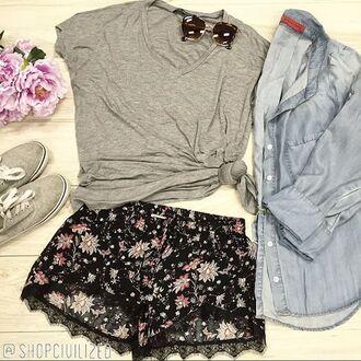 shorts floral flowered shorts black black shorts black floral black floral shorts gray grey t-shirt grey t-shirt chambray jacket