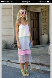 dress,pastel,loose,spaghetti strap,pattern,summer,lauren conrad blog,cuts,pastel dress,midi dress,lace dress,mesh dress,mesh,summer dress,pink,mint