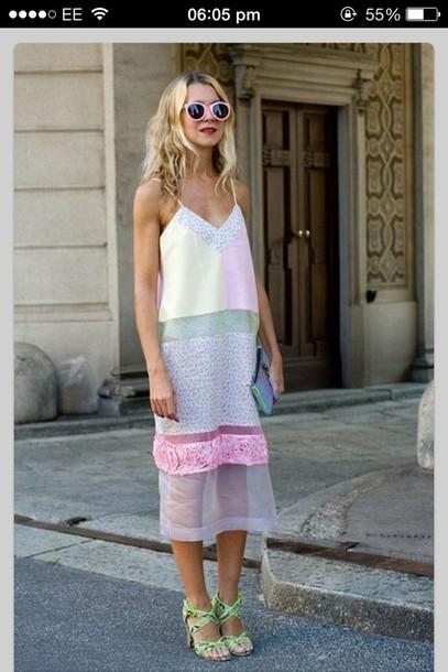 dress pastel loose spaghetti strap pattern summer lauren conrad blog cuts pastel dress midi dress lace dress mesh dress mesh summer dress pink mint