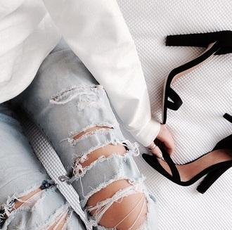 pants boyfriend jeans ripped jeans jeans black shoes shoes high heels