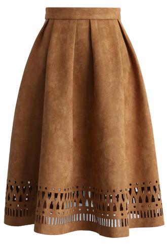 skirt geo cutout suede pleated midi skirt in tan chicwish tan midi pleated