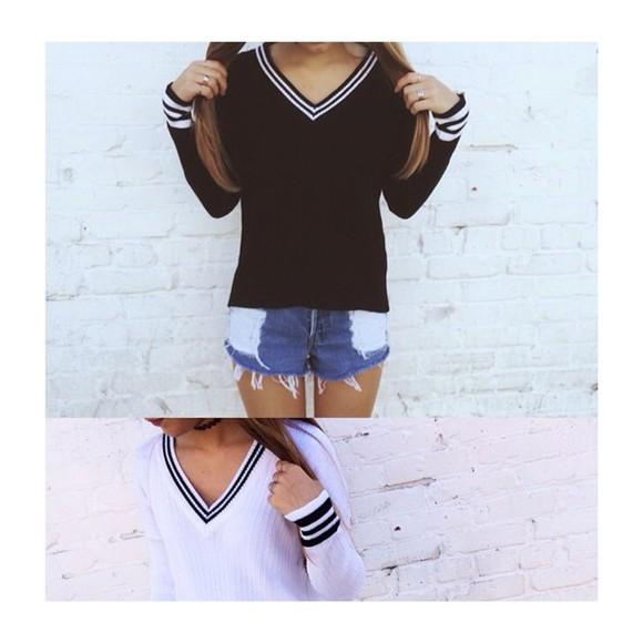 black sweater black white sweater fashion brandy melville white knitted sweater urbanfxck