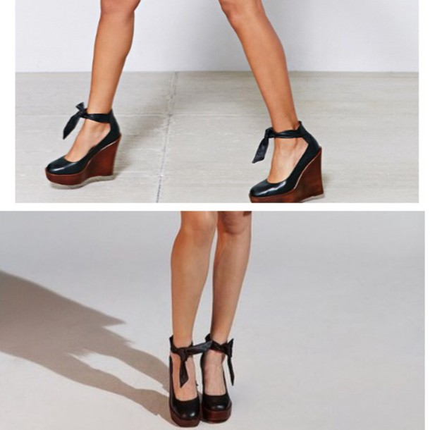 shoes wedges navy ankle straps knot heels