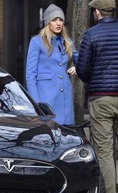 coat,blue coat,blake lively,hat