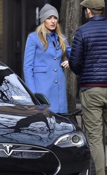 coat blue coat blake lively hat