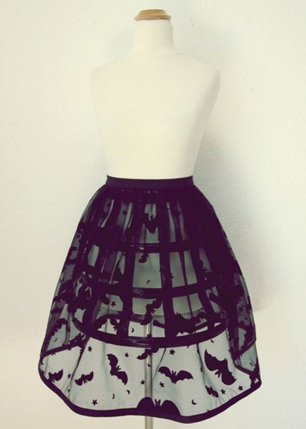 skirt see through goth black bats