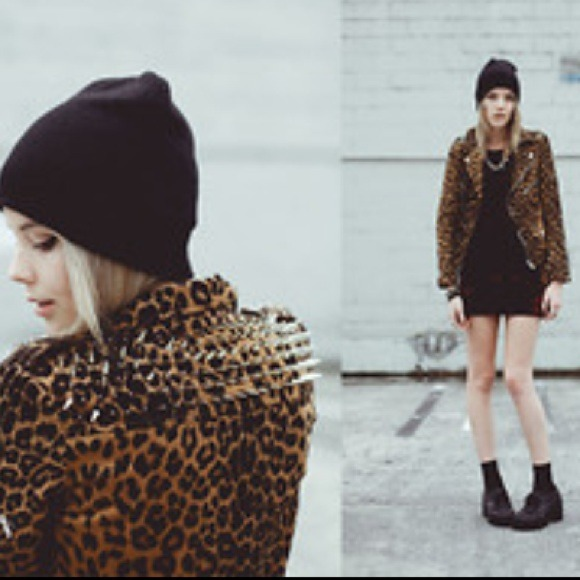 Unif leopard leather biker jacket from kayla's closet on poshmark