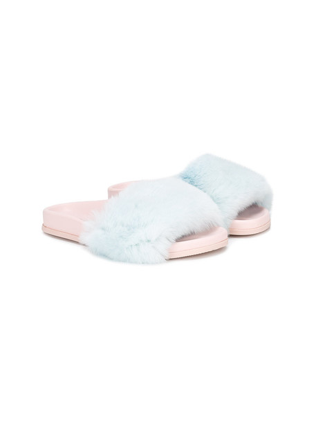 fur sandals leather blue shoes