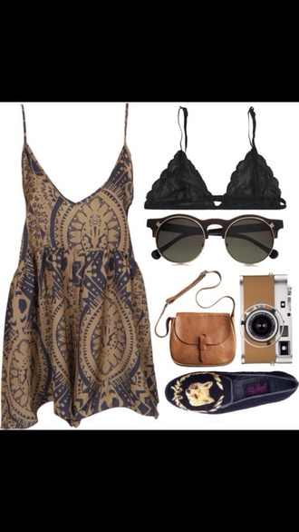 dress leather bag romper jumpsuit summer navy brown dress vintage indie hipster hippie shoes flats fox sunglasses bra lace black underwear loafers round sunglasses bralette top blouse