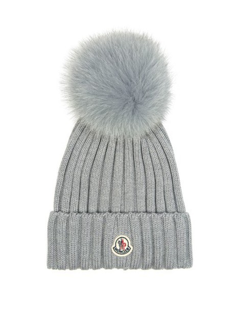 a4b93cc964e MONCLER Fur-pompom ribbed-knit hat in grey - Wheretoget