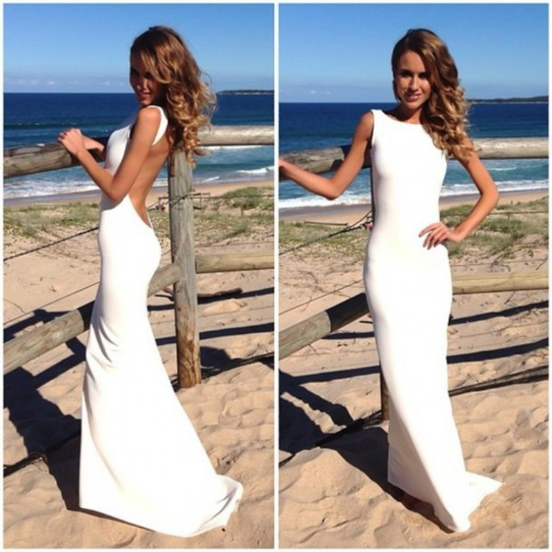 Aliexpress.com : Buy 2014 Free Shipping! Custom Made High Neck Mermaid Long White Formal Prom Dress Sexy Backless Evening Dress from Reliable dresses for bigger women suppliers on RedApple Dress Store