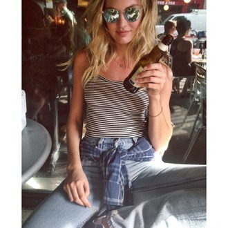 top stripes striped top candice swanepoel jeans instagram shoes